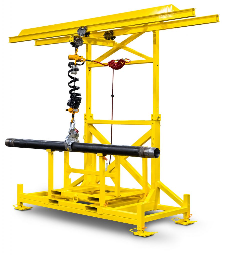 sonic drilling pipe handling system quarter view